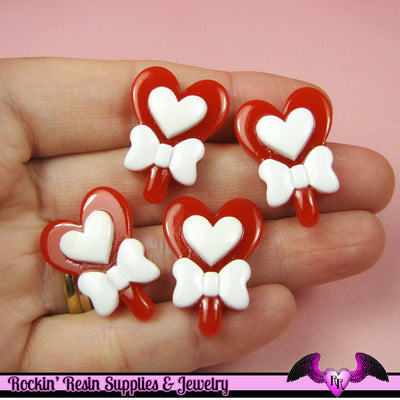 5 pcs ReD HEART LOLLIPOP with BOW Decoden Kawaii Resin Flatback Cabochon 27x20mm - Rockin Resin