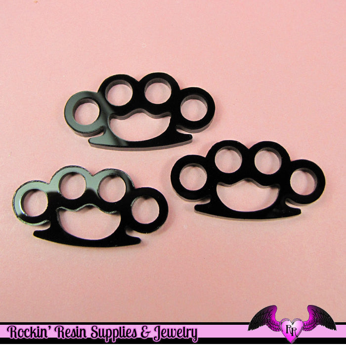 3 pc Black KNUCKLE DUSTERS Medium Flatback Decoden Cabochons 39x20mm