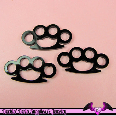 3 pc Black KNUCKLE DUSTERS Medium Flatback Decoden Cabochons 39x20mm - Rockin Resin  - 1