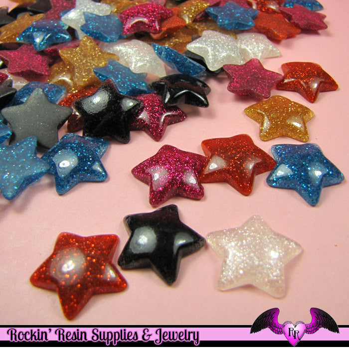 6 pc Domed GLITTER STARS Decoden Resin Flatback Cabochon 20mm - Rockin Resin  - 1