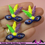 4 pc MARDI GRAS MASK Flatback Decoden Cabochon 30x28 mm - Rockin Resin