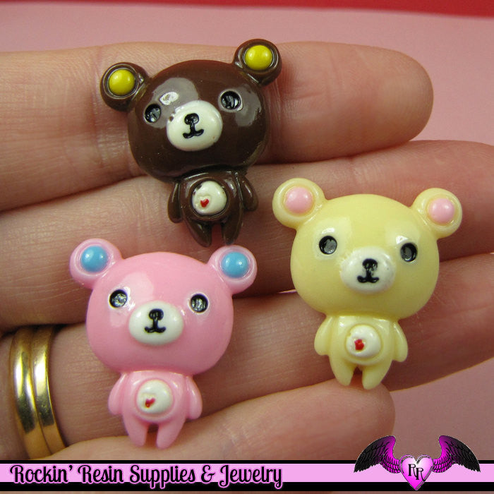 5 Pieces BEARS   Resin Decoden Kawaii Flatback Cabochon 24 x 22mm - Rockin Resin