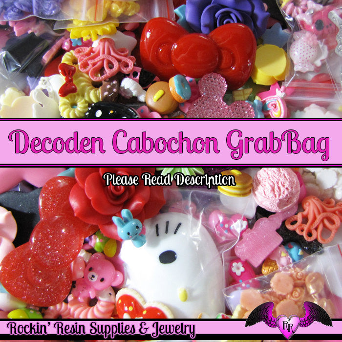 GRADE B Seconds GRAB BaG 3.5 ounces of Resin Decoden Flatback Cabochons, Cameos, and Cameo Settings - Rockin Resin  - 1