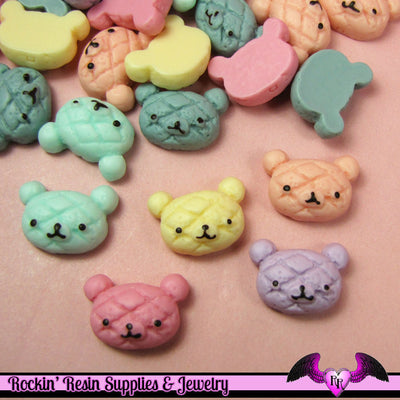 5 pcs BEAR HEAD BREAD BuNs   Resin Decoden Kawaii Flatback Cabochons 15 x 21mm - Rockin Resin