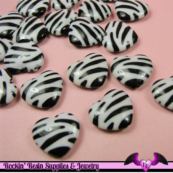 15 pc ZEBRA HEART Animal Print Beads Small 17x20mm - Rockin Resin  - 1