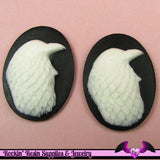 EAGLE BIRD Black and White Cabochons Resin Cameos 30x40mm (2 pieces) - Rockin Resin