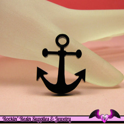 5 pc NAUTICAL ANCHOR in Black Acrylic Flatback Decoden Laser Cabochons 20x25mm - Rockin Resin  - 1