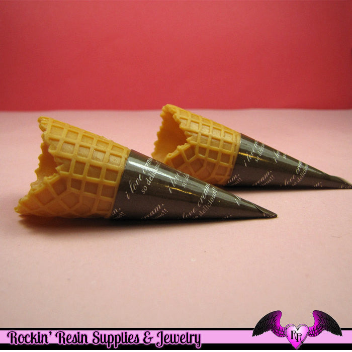 WAFFLE CONE Ice Cream Cone Sweets Decoden Bases (2 pieces) - Rockin Resin  - 1