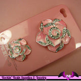 2 pc Pink Enamel and Crystals Roses Decoden Cellphone Cabochon Decoration - Rockin Resin  - 2