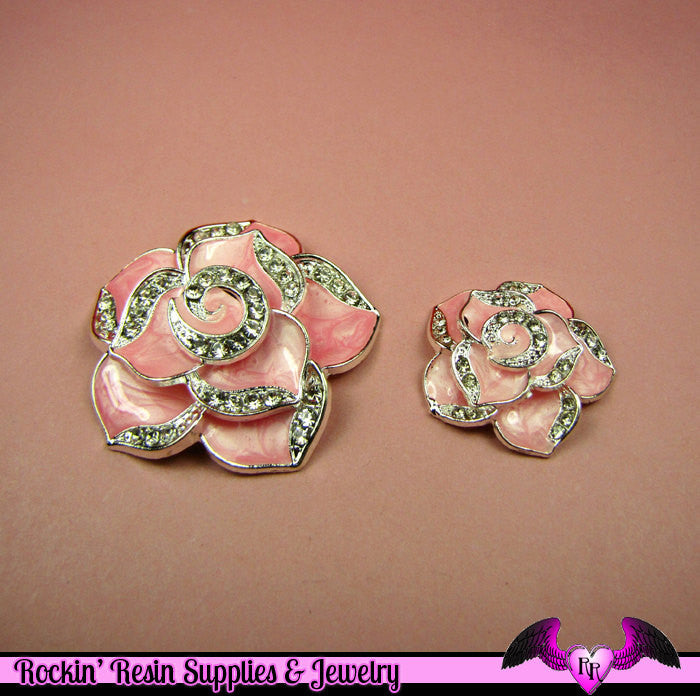 2 pc Pink Enamel and Crystals Roses Decoden Cellphone Cabochon Decoration - Rockin Resin  - 1