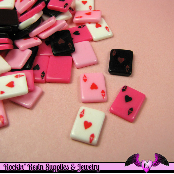 8 Pcs PLAYING CARDS Aces Small Decoden Flatback Resin Cabochons 13x10mm