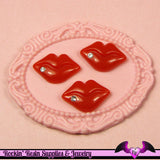 5 pcs small LIPS with CRYSTAL in RED Resin Decoden Flatback Cabochon 17 x 12 mm - Rockin Resin