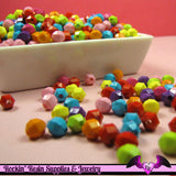 6mm Round FACETED SPACER BEADS in Colorful Resin Acrylic Bead Assortment (100 pieces) - Rockin Resin  - 2