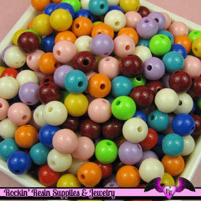 8mm GUMBALL BEADS in Bright Resin Acrylic Round Bead Assortment (50 pieces) - Rockin Resin  - 1