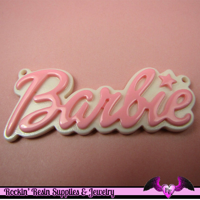 Light PinK XL Girly Name Necklace Pendant Decoden Flatback Resin Cabochons