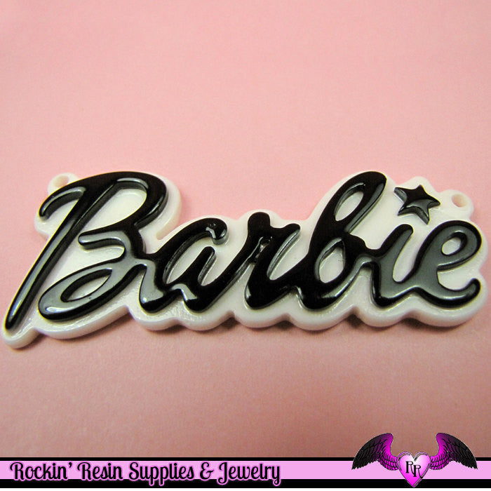 Black XL Girly Name Necklace Pendant or Decoden Kawaii Flatback Resin Cabochons - Rockin Resin  - 1