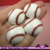4 Pcs BASEBALL Sports Resin Flatback Decoden Cabochons 25mm - Rockin Resin