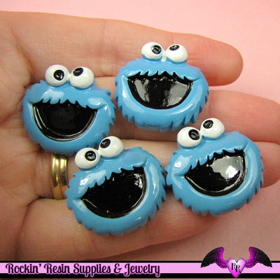 Kids Blue Monster Head Decoden Kawaii Flatback Cabochon 4 pieces - Rockin Resin