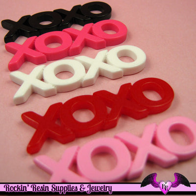 5 pcs XOXO Hugs and Kisses  Resin Decoden Kawaii Flatback Cabochons 48x13mm - Rockin Resin  - 1