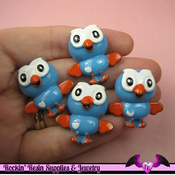 4 Pcs BLUE OWL Cartoon Flatback Resin Decoden Kawaii Cabochons 27x28mm