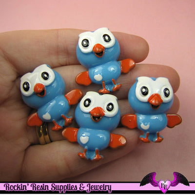 4 Pcs BLUE OWL Cartoon Flatback Resin Decoden Kawaii Cabochons 27x28mm - Rockin Resin