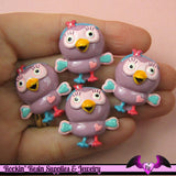 4 Pcs PURPLE OWL Cartoon Flatback Resin Decoden Kawaii Cabochons 26x28mm - Rockin Resin