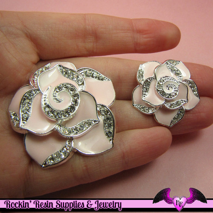 2 pc Light Pale Pink Enamel and Crystals Roses Decoden Cellphone Cabochon Decoration