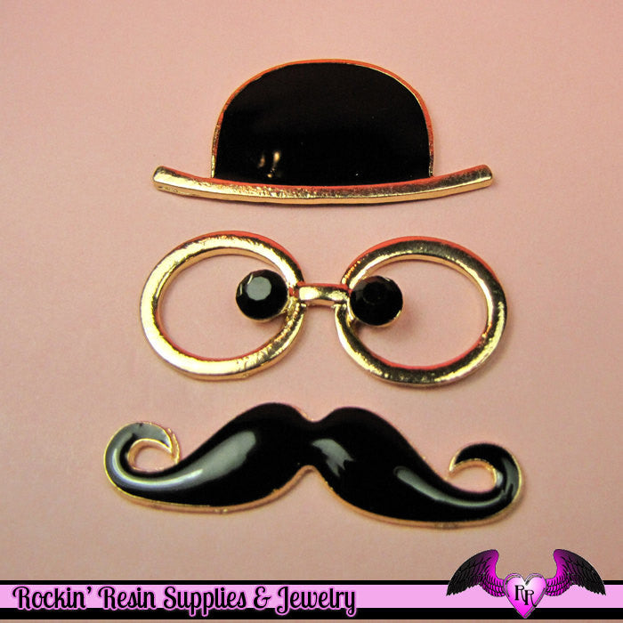 Steampunk MUSTACHE GLASSES & HAT Black and Gold Tone Alloy Decoden Cabochon Cell phone Decoration
