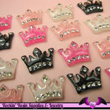 4 Pcs Sparkly CROWN with Crystals Decoden Kawaii Flatback Resin Cabochons 24 x 16mm - Rockin Resin