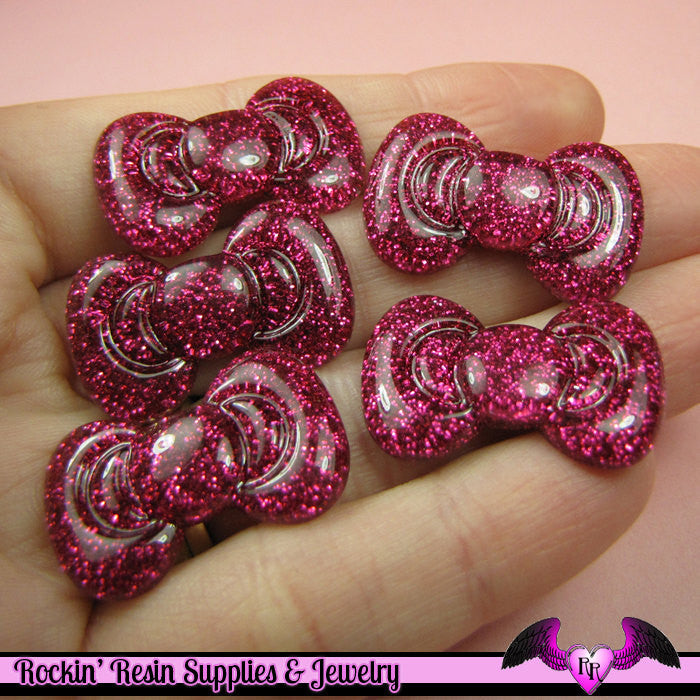 5pc SUPER HOT FuCHSIA Pink Glitter BOWS   Decoden Kawaii Flatback Resin Cabochons 17 x 27mm - Rockin Resin  - 1