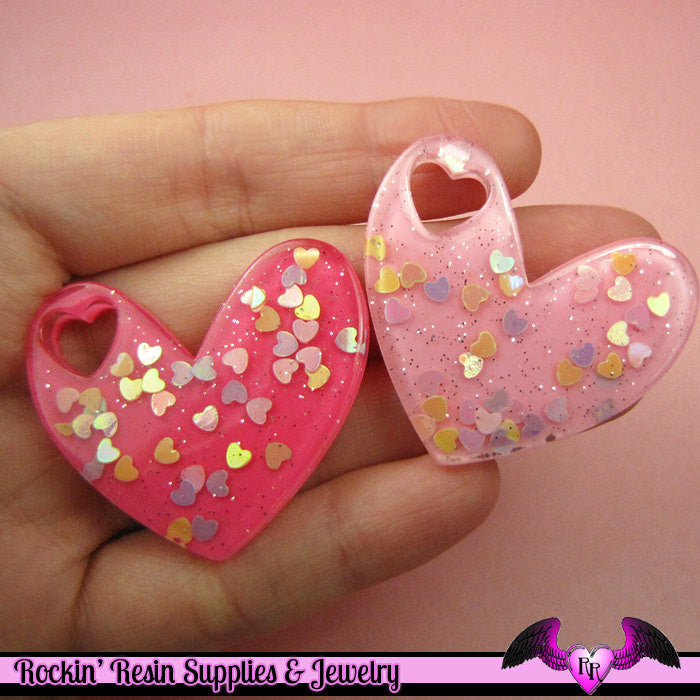 3pcs BIG Glitter HEARTS within a HEART Pink Kawaii Decoden Flatback Resin Cabochons 41x36mm