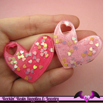 3pcs BIG Glitter HEARTS within a HEART Pink Kawaii Decoden Flatback Resin Cabochons 41x36mm - Rockin Resin