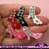 5 pcs BLING High Heel Shoes Crystal Covered   Flatback Decoden Resin Kawaii Cabochons 27x20mm - Rockin Resin  - 1