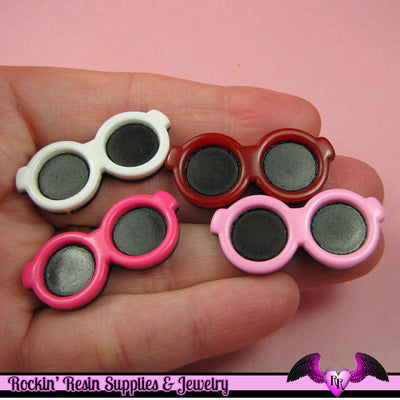 4 pcs SUNGLASSES Kawaii Decoden Resin Flatback Cabochons 34x15mm - Rockin Resin  - 1