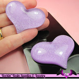 HUGE PUFFY Purple Glitter HEART Resin Decoden Flatback Kawaii Cabochons 49x38mm (3 pieces) - Rockin Resin