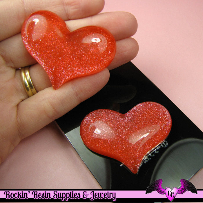 HUGE PUFFY Red Glitter HEART Resin Decoden Flatback Kawaii Cabochons 49x38mm (3 pieces)