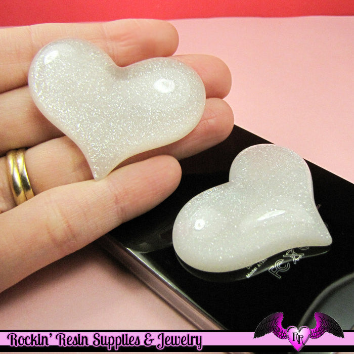 HUGE PUFFY White Glitter HEART Resin Decoden Flatback Kawaii Cabochons 49x38mm (3 pieces)