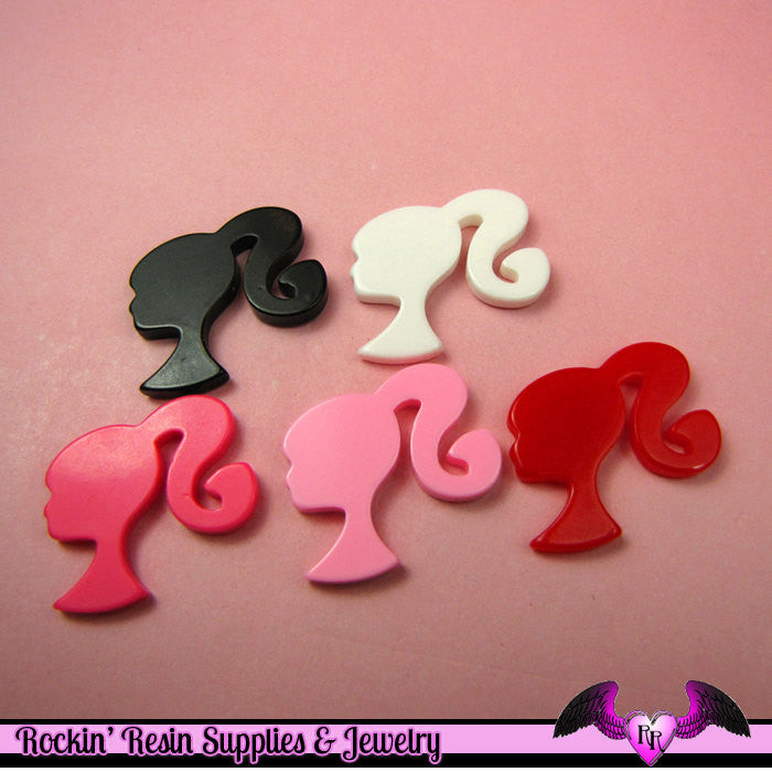 5 Pcs Ponytail Girly Head  Decoden Kawaii Flatback Resin Cabochons 28x29mm - Rockin Resin  - 1