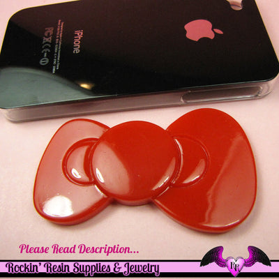 2pc HUGE 80mm KAWAII ReD BOW  Decoden Flatback Resin Cabochons 80x45mm - Rockin Resin  - 1