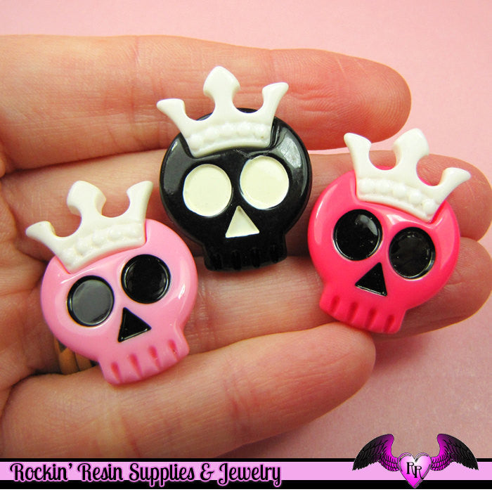 4 pc SKULL with CROWN  Flatback Decoden Cabochons 29x22mm