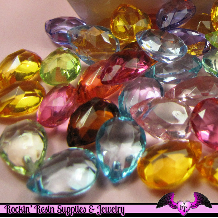 Faceted PEAR DROP Bright Mix Acrylic Beads 18x13mm ( 25 pieces )
