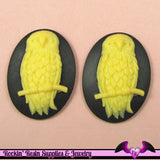 2 pc OWL on a BRANCH Black and Yellow Ivory Resin Cameos 30x40mm cabochons - Rockin Resin