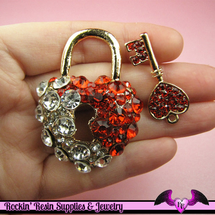 Amazing Blinged-out HEART LOCK and KEY Decoden Cellphone Cabochon Decoration