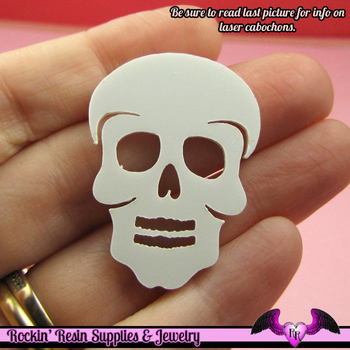 3 pc SUGAR SKULL Day of the Dead HEAD in White Flatback Decoden Laser Cabochons 37x28mm