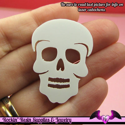 3 pc SUGAR SKULL Day of the Dead HEAD in White Flatback Decoden Laser Cabochons 37x28mm - Rockin Resin  - 1