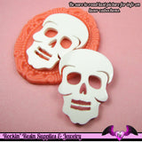 3 pc SUGAR SKULL Day of the Dead HEAD in White Flatback Decoden Laser Cabochons 37x28mm - Rockin Resin  - 2