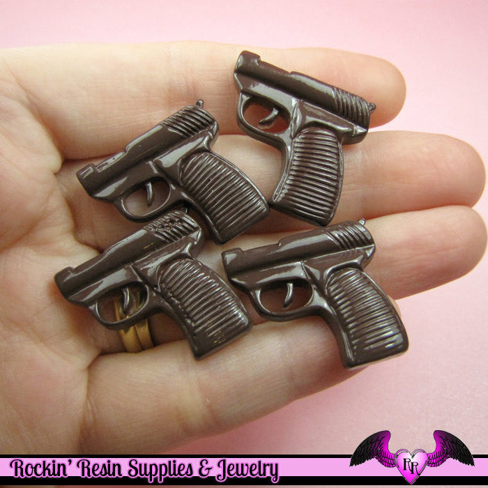 4 pc Brown HAND GUN PISTOL Flatback Decoden Cabochons 24x23mm