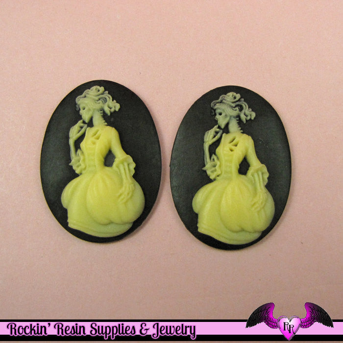 2 pc VICTORIAN ZOMBIE in GOWN Skeleton Black and Ivory Resin Cameos 30x40mm - Rockin Resin