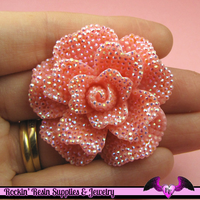 2 pcs Faux RHINESTONE AB Light Pink FLOWER 45mm Decoden Flatback Resin Cabochons