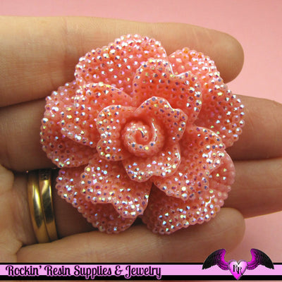 2 pcs Faux RHINESTONE AB Light Pink FLOWER 45mm Decoden Flatback Resin Cabochons - Rockin Resin  - 1